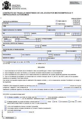 Modelo contrato indefinido de un joven por microempresas y for Formato de contrato de trabajo indefinido