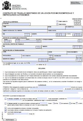 Modelo contrato indefinido de un joven por microempresas y for Modelo contrato empleada de hogar indefinido