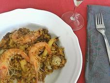 Paella berberechos, calamar langostinos