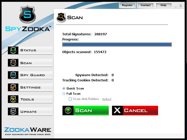 SpyZooka Spyware Remover Scan
