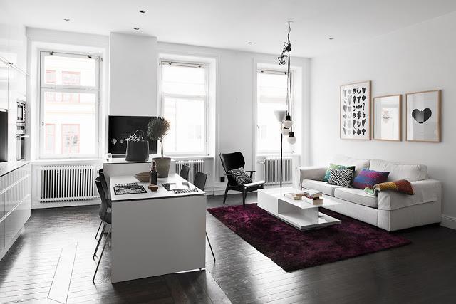 Un sobrio apartamento estilo nordico paperblog - Salon y cocina integrados ...