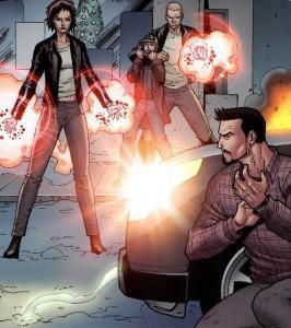 Harley y Tony atacados por Brandt y Savin en el libro de Iron Man 3