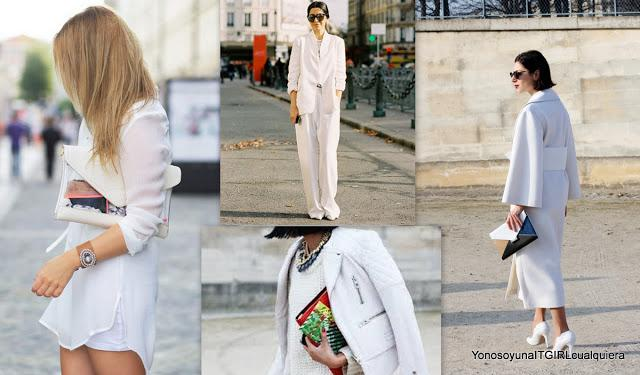 Total white look street style fashion weeks