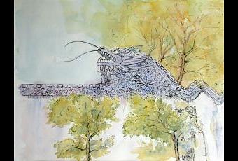 Cabeza de drag n en el muro de los cinco dragones del for El jardin de los dragones