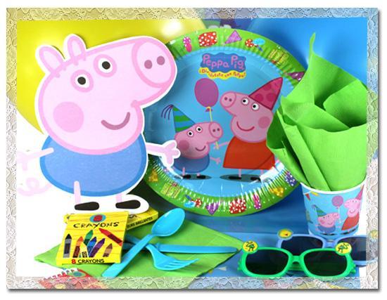 menaje y decorados para una fiesta Peppa Pig