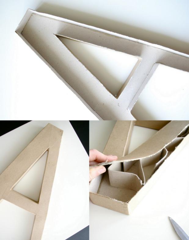Decoracion Letras Carton ~ Con el cuter levantamos una de las caras de la letra, y as? poder