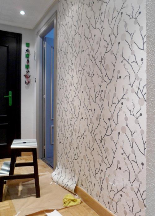 Operaci n makeover n 4 papel pintado en la entrada de casa for Papel pintado especial para gotele