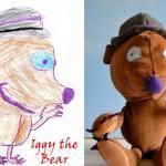 Muñecos de tela hechos con los dibujos de los niños