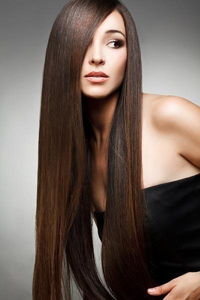 Baño De Color Alisado Japones:Long Straight Brunette Hair