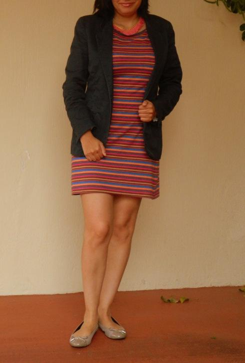 color stripe dress and blue blazer (1)