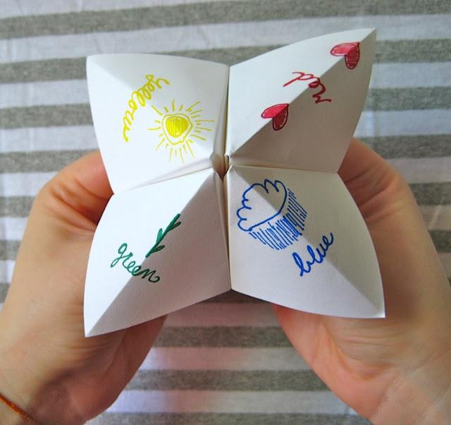 paper fortune teller A really fun toy to make and play with is the origami fortune teller give it a try.