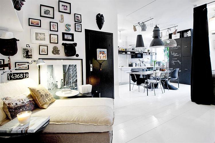 Apartamento en blanco y negro paperblog - Decoracion salon blanco y negro ...
