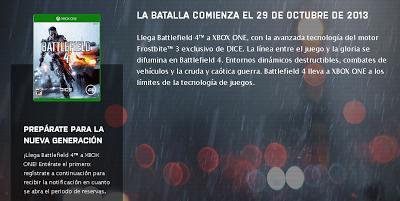 Captura de pantalla del anuncio de salida del juego Battlefield 4