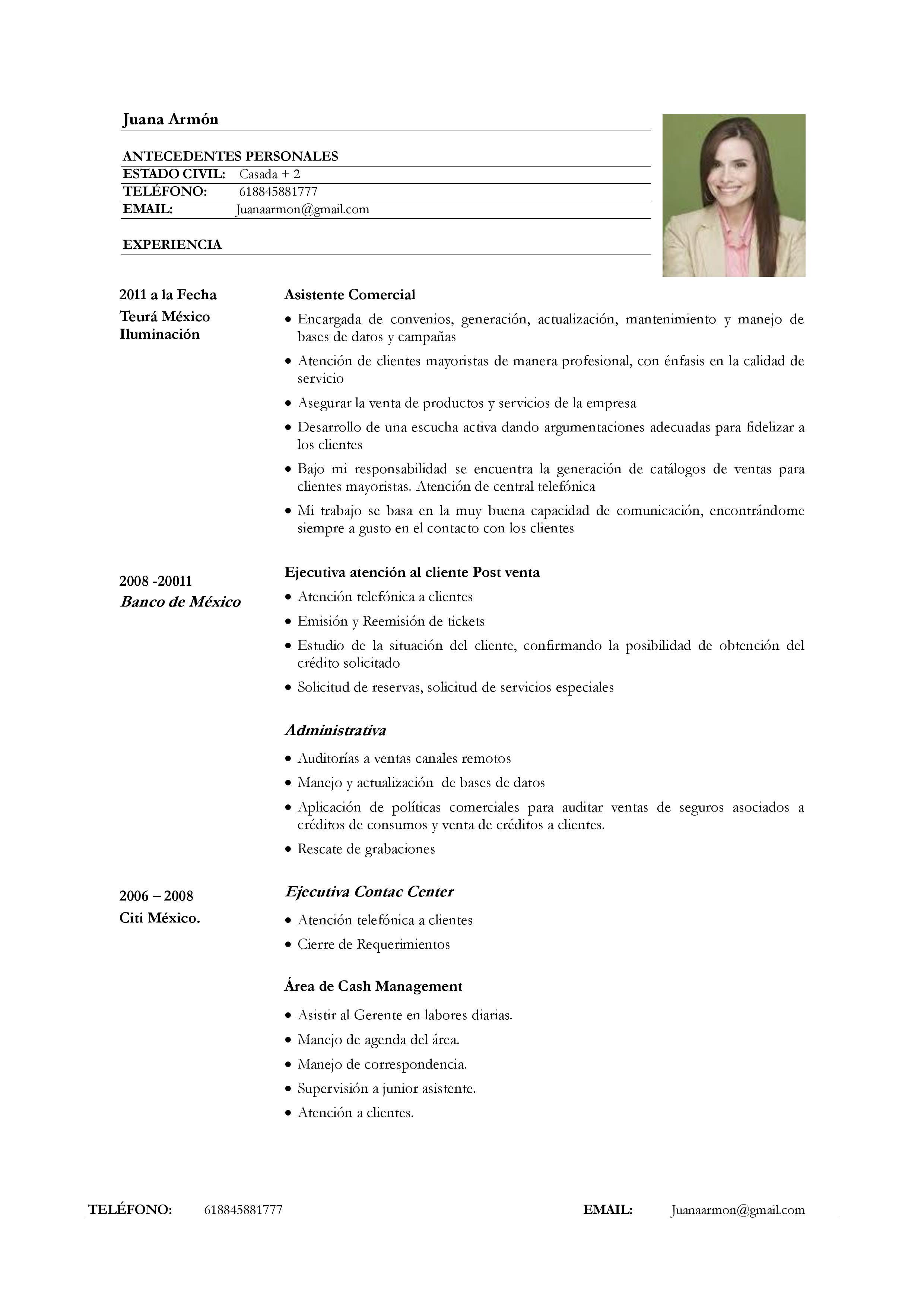 Ejemplo de Currículum vitae para servicio de atención al cliente ...