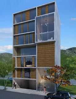 Innovadora fachada 3d de edificio en pachuca mexico for Fachadas contemporaneas de edificios
