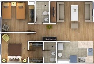 Planos 2d ambientados de departamentos en mexico df for Planos de departamentos de 40m2