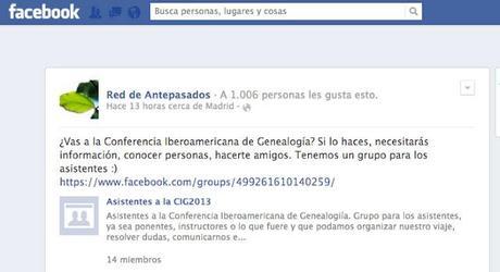 ¿Asistirás a la Conferencia Iberoamericana de Genealogía? Tenemos un grupo en Facebook