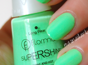 Review: Esmalte verde lima pastel neón Flormar Supershine.