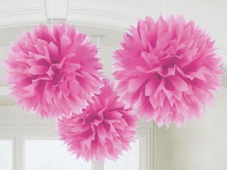 pompones de papel para decorar fiestas de princesa