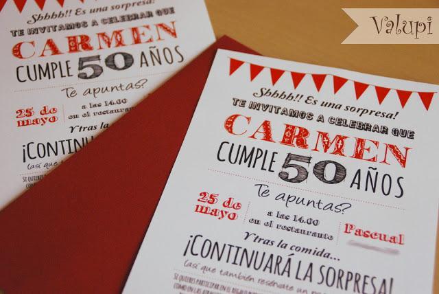 Mi rcoles de inspiraci n invitaciones para cumplea os - Ideas para celebrar 50 cumpleanos ...