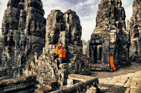 Boy Monks (10-12) reading  in Bayon Temple, Angkor Wat, Cambodia