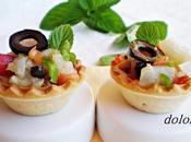 Tartaletas bacalao curado aceitunas