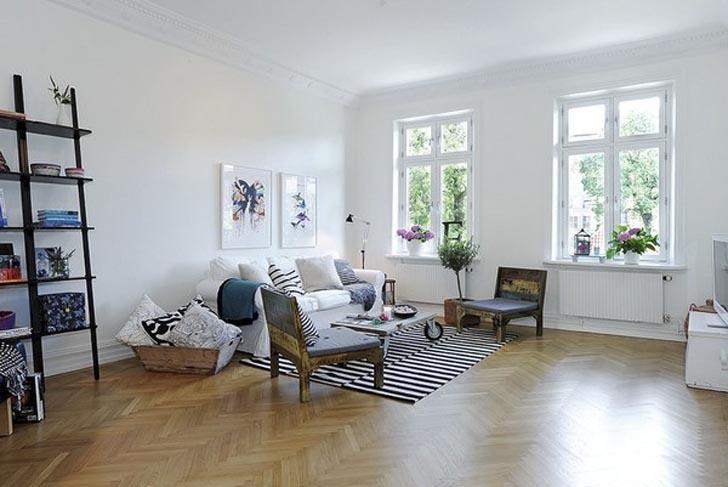 Light blue decoracion nordica en un piso muy grafico for Decoracion nordica pisos pequenos