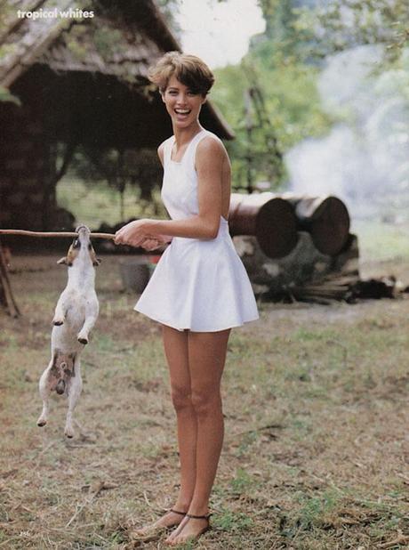 Christy Turlington by Hans Feurer Vogue US 1990 - Tropical whites