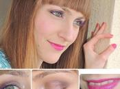 Look maquillaje, pestañas moradas