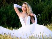Vestido novia blanco escote