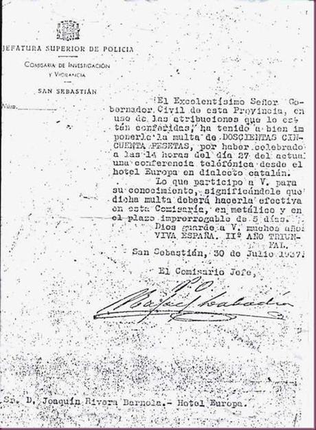 MULTA POR HABLAR EN CATALÁN 1937