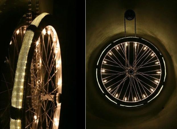 Old Bike Wheel 6 Lámparas que No lo parecen   Objetos Cotidianos Hechos Luz