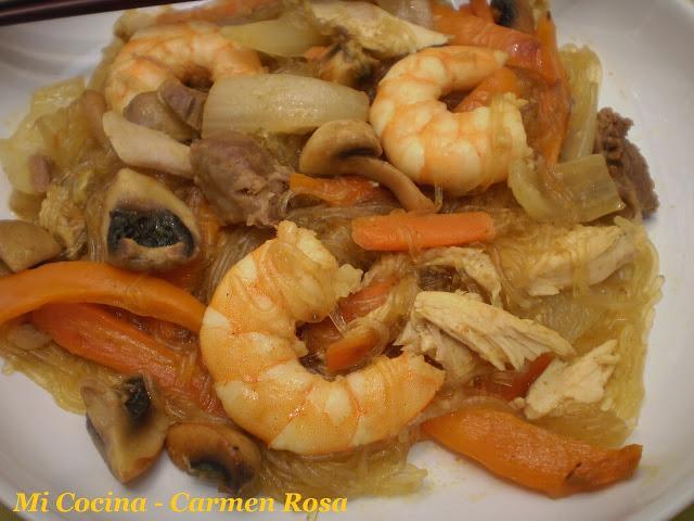 Fideos Arroz Pollo Fideos de Arroz al Curry Con