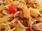 Recetas fáciles: espaguetis cerdo frutas almíbar