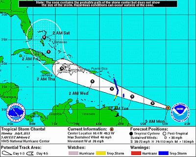 Se forma ciclón Chantal; apunta a República Dominicana.