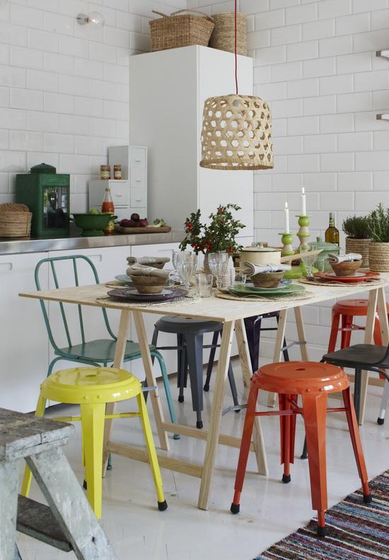 comedores con sillas de diferentes colores paperblog