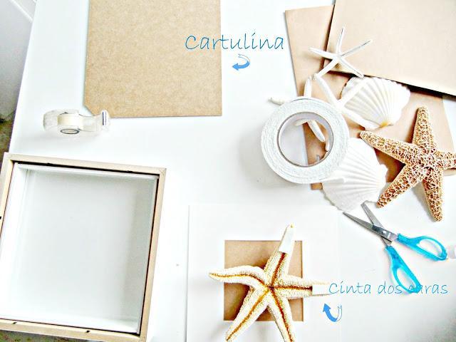 Diy cuadros realizados con conchas y estrellas de mar for Decoracion marinera ikea