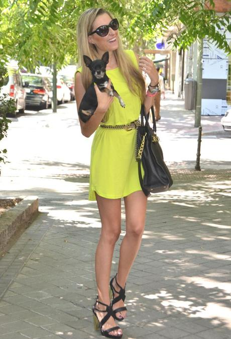 Neon dress and black