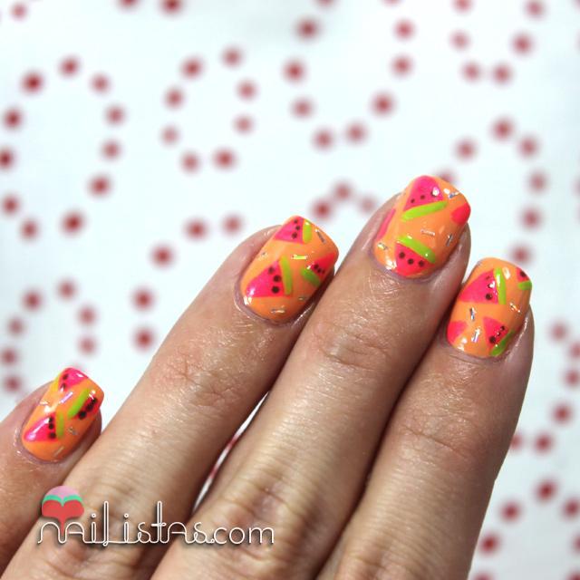 Unas Decoradas Con Sandias Neon Reto Summernails Paperblog