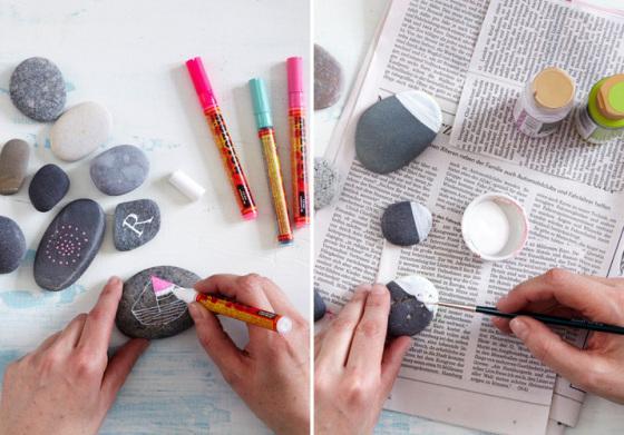 Diy piedras de colores paperblog for Decoracion de piedras