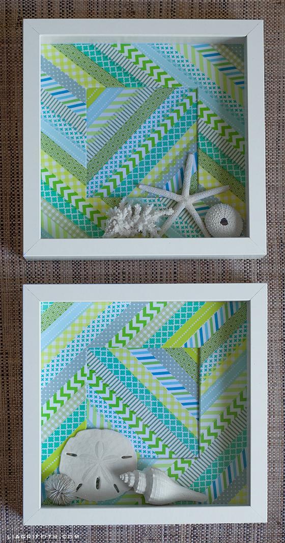 Un cuadro con washitape y estrellas de mar paperblog Marcos cuadros ikea