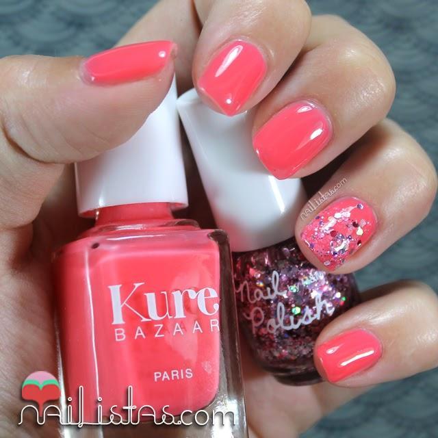 Uñas Decoradas Color Coral Con Purpurina Nail Art Paperblog