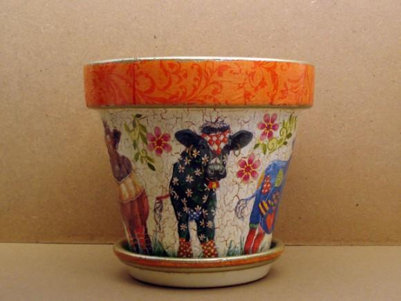 artesanía: macetas de barro cocido pintadas al decoupage - paperblog
