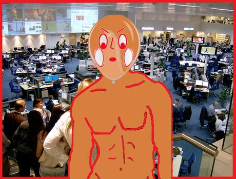 Revientín está acalorado y se ha puesto cómodo para dar las noticias
