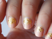 NOTD: Uñas elegantes nude glitter dorado.