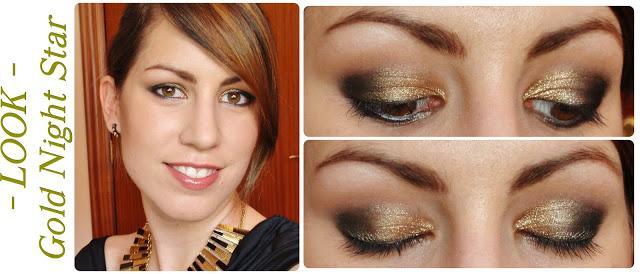 Vestido negro con dorado maquillaje