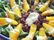receta: ensalada espinacas lentejas mango aliño curry spinach lentils salad with dressing