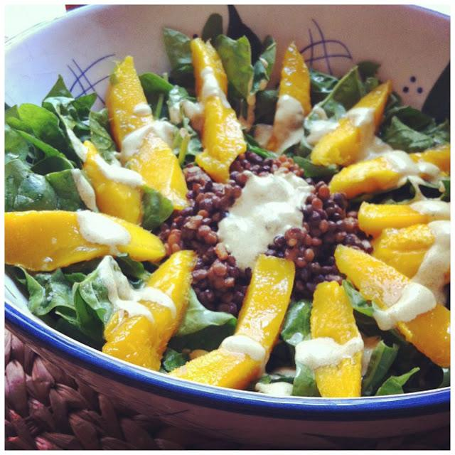 receta: ensalada de espinacas y lentejas con mango con aliño de curry - spinach and lentils salad with mango and curry dressing