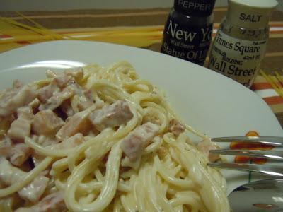 Espaguetis con bacon picante (Participo en MaraenGredos)