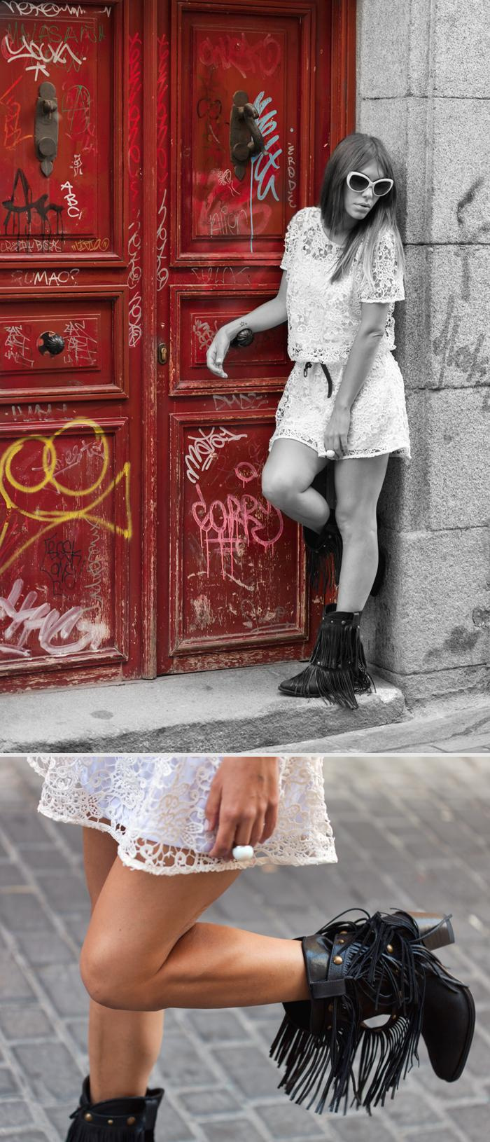 street style barbara crespo sheinside crochet dress sendra fringes boots outfit